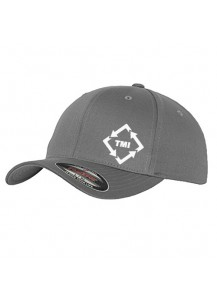 TMI Flexfit Structured Hat Grey With White Logo